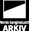 Bildet viser den hvite logoen til Norsk bergindustriarkiv.