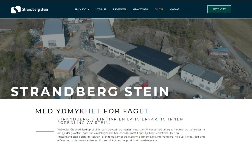 Skjermbilde av nettsiden til Strandberg stein