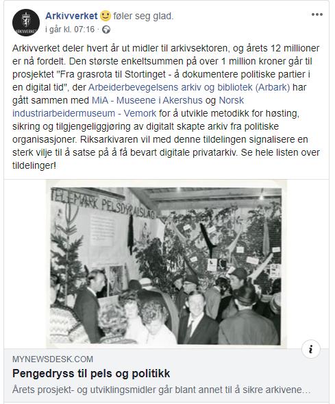 Skjermbilde fra Arkivverkets facebookside om tildeling av midler