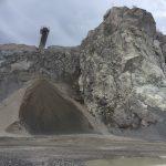 Steinbrudd. Produksjon av pukk